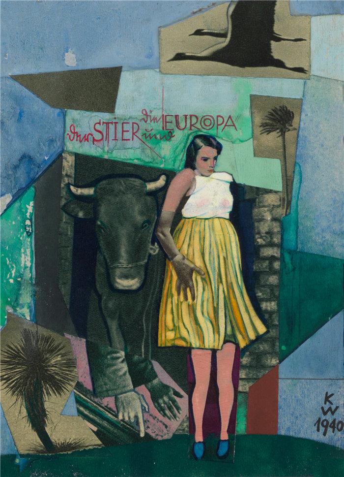 卡尔·维纳(Karl Wiener,奥地利画家 )作品-公牛的欧洲(1940)