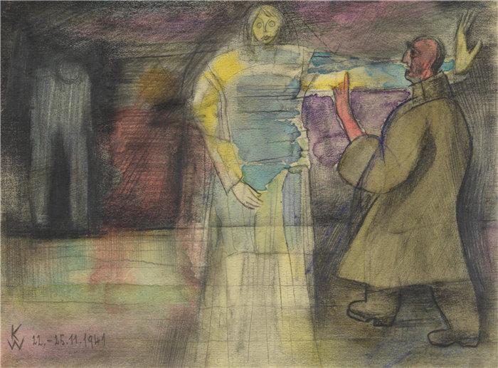 卡尔·维纳(Karl Wiener,奥地利画家 )作品-Ohne 标题; aus; 'Die 150 Blätter' XX (1940)