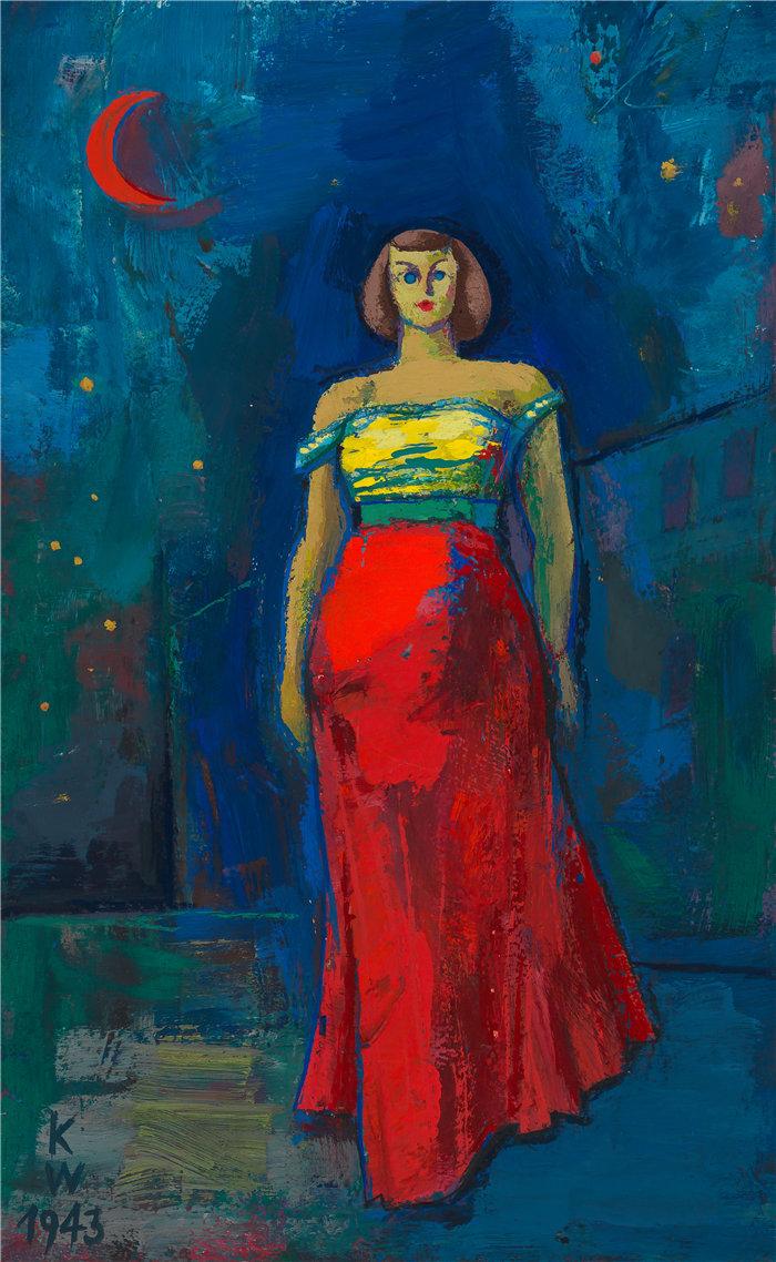 卡尔·维纳(Karl Wiener,奥地利画家 )作品-无头衔(穿黄红色连衣裙的女人) (1943)