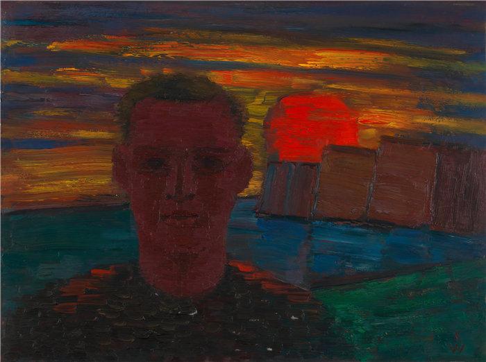 卡尔·维纳(Karl Wiener,奥地利画家 )作品-男性肖像(约 1932 年)
