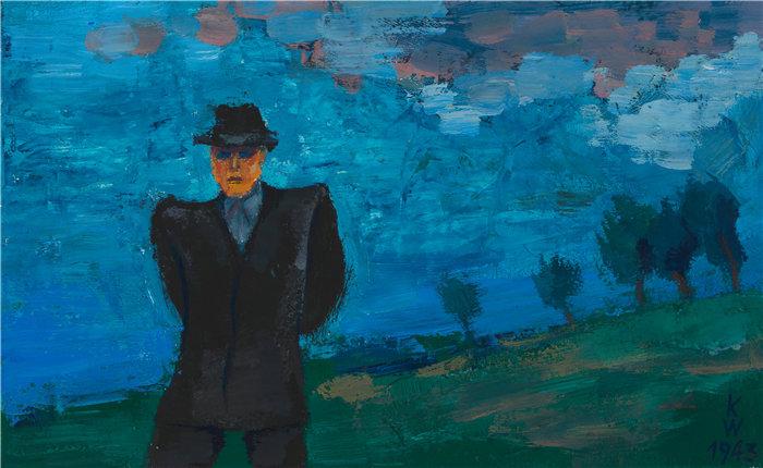 卡尔·维纳(Karl Wiener,奥地利画家 )作品-风景画中穿黑西装戴黑帽子的男人(1943)