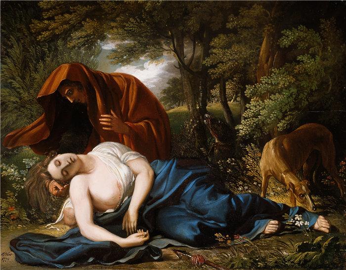 本杰明·韦斯特 (Benjamin West,美国画家)作品--普罗克里斯之死 (1770)