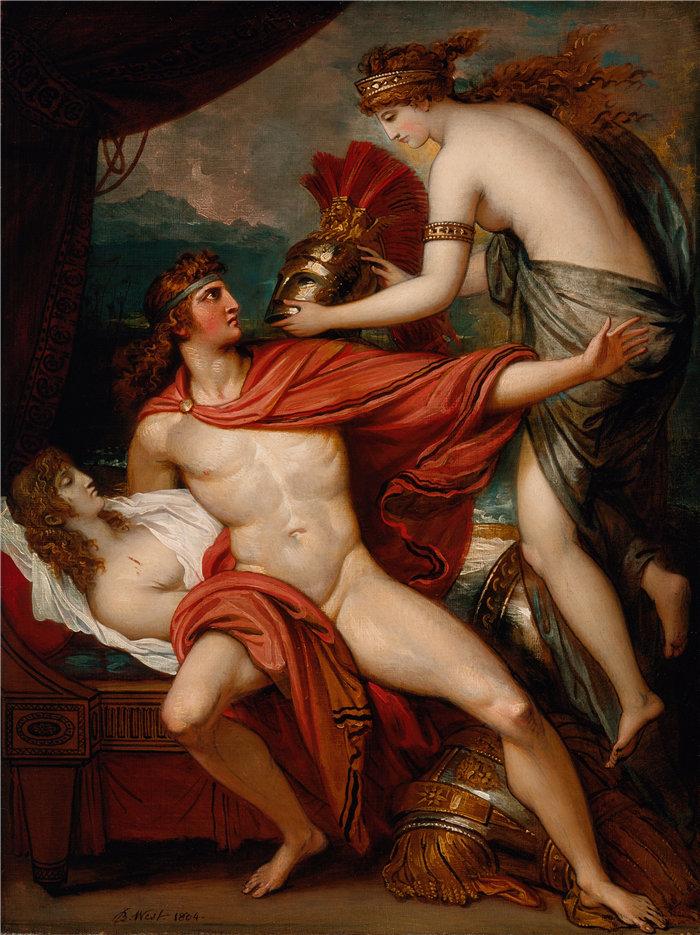 本杰明·韦斯特 (Benjamin West,美国画家)作品--忒提斯将盔甲带给阿喀琉斯 (1804)