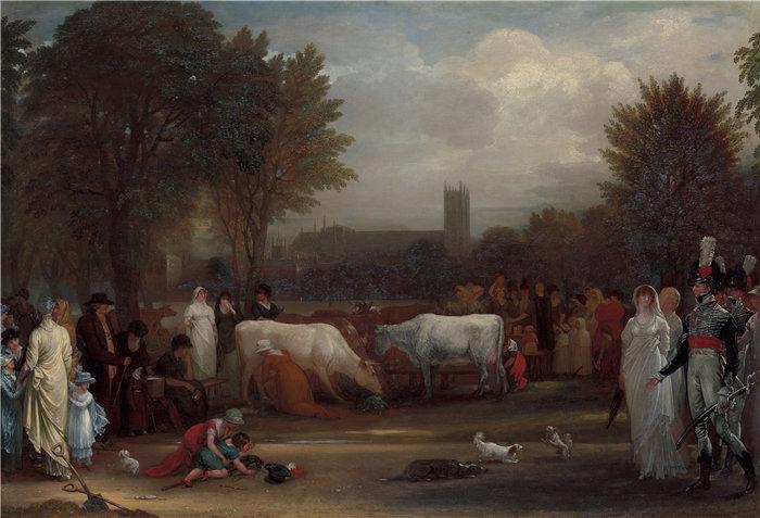 本杰明·韦斯特 (Benjamin West,美国画家)作品--圣詹姆斯公园的挤奶女工,威斯敏斯特教堂之外(约 1801 年)