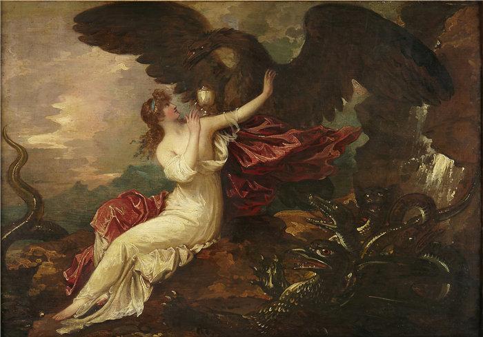 本杰明·韦斯特 (Benjamin West,美国画家)作品--鹰将杯子带给普赛克(约 1802 年)