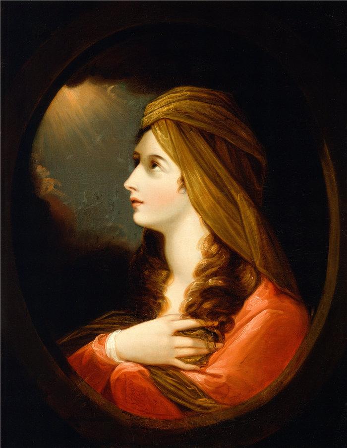 本杰明·韦斯特 (Benjamin West,美国画家)作品--一位女士的肖像(18 世纪后期)