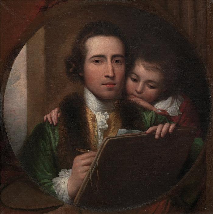本杰明·韦斯特 (Benjamin West,美国画家)作品--艺术家和他的儿子拉斐尔 (1773)