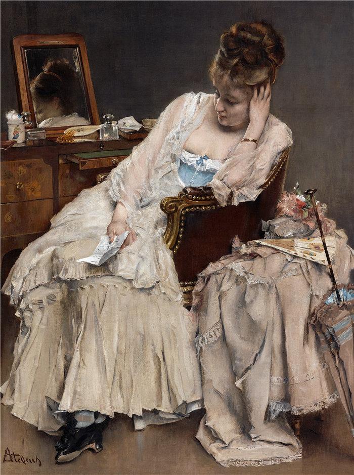 阿尔弗雷德·史蒂文斯(Alfred Stevens,比利时画家)作品-回忆与遗憾(约 1874 年)