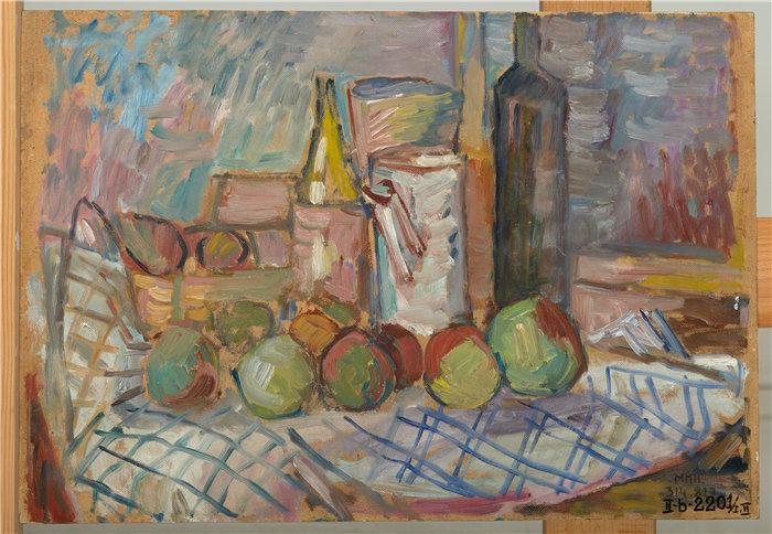 亚历山大·萨萨·布朗德 (Aleksander Sasza Blonder,波兰画家)作品-水果静物 (1937)