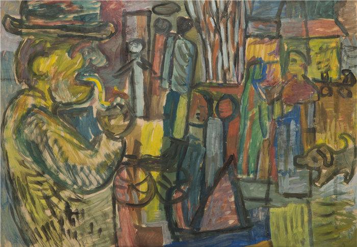 亚历山大·萨萨·布朗德 (Aleksander Sasza Blonder,波兰画家)作品-后院拿着烟斗的男人(1936)