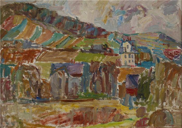 亚历山大·萨萨·布朗德 (Aleksander Sasza Blonder,波兰画家)作品-山村 (1937)