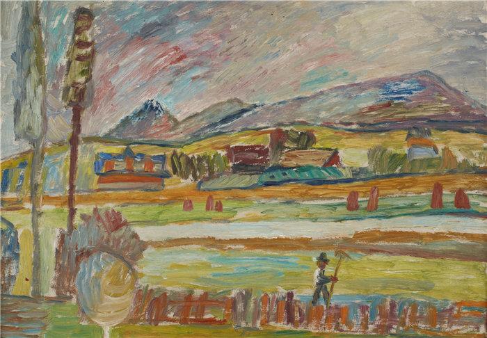 亚历山大·萨萨·布朗德 (Aleksander Sasza Blonder,波兰画家)作品-拿着耙子的农民 (1937)