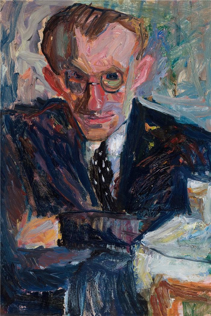 亚历山大·萨萨·布朗德 (Aleksander Sasza Blonder,波兰画家)作品-一个戴眼镜的男人的肖像(1936)