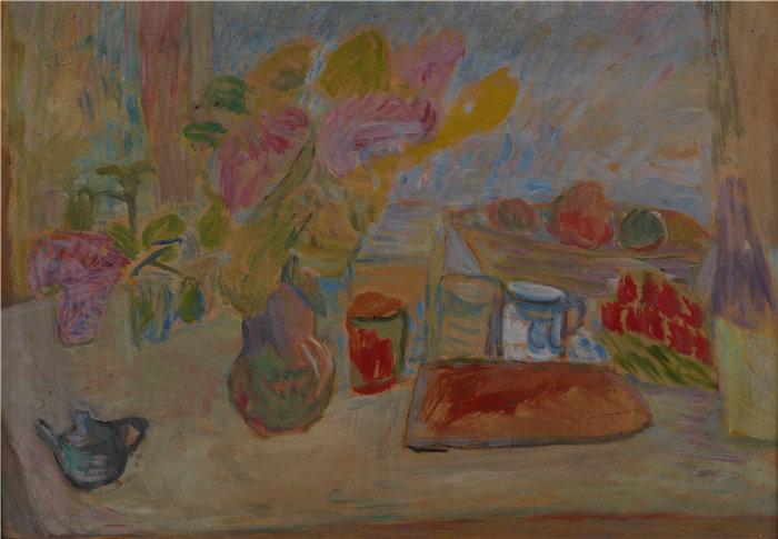 亚历山大·萨萨·布朗德 (Aleksander Sasza Blonder,波兰画家)作品-面包静物 (1937)
