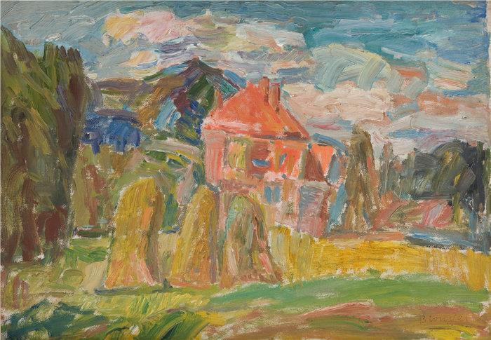 亚历山大·萨萨·布朗德 (Aleksander Sasza Blonder,波兰画家)作品-有红房子的风景(1937)