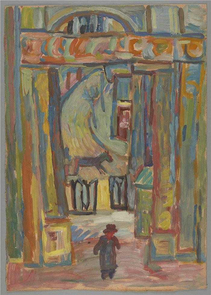 亚历山大·萨萨·布朗德 (Aleksander Sasza Blonder,波兰画家)作品-花园入口背景中的男人(1934)