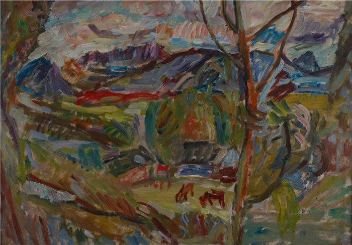 亚历山大·萨萨·布朗德 (Aleksander Sasza Blonder,波兰画家)作品-有牛的山景(1937)