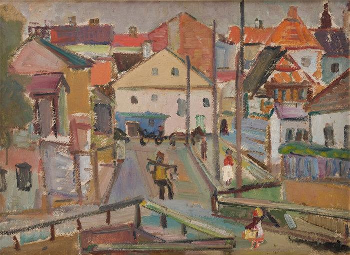 亚历山大·萨萨·布朗德 (Aleksander Sasza Blonder,波兰画家)作品-硅树脂的运水器 (1936)
