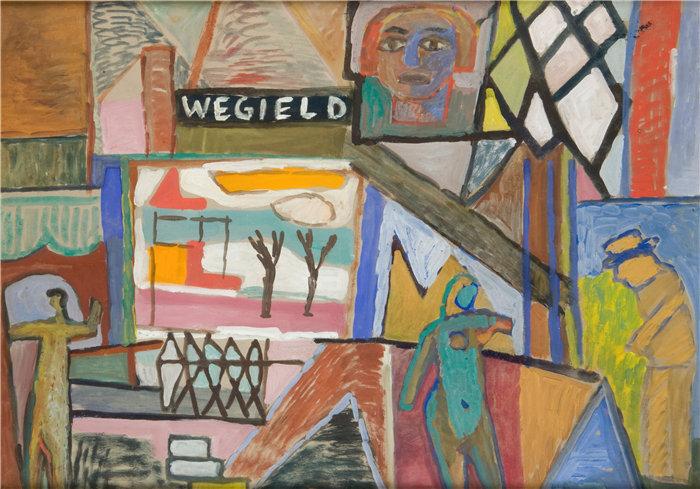 """亚历山大·萨萨·布朗德 (Aleksander Sasza Blonder,波兰画家)作品-用""""WEGIELD""""一词写作(1935年)"""