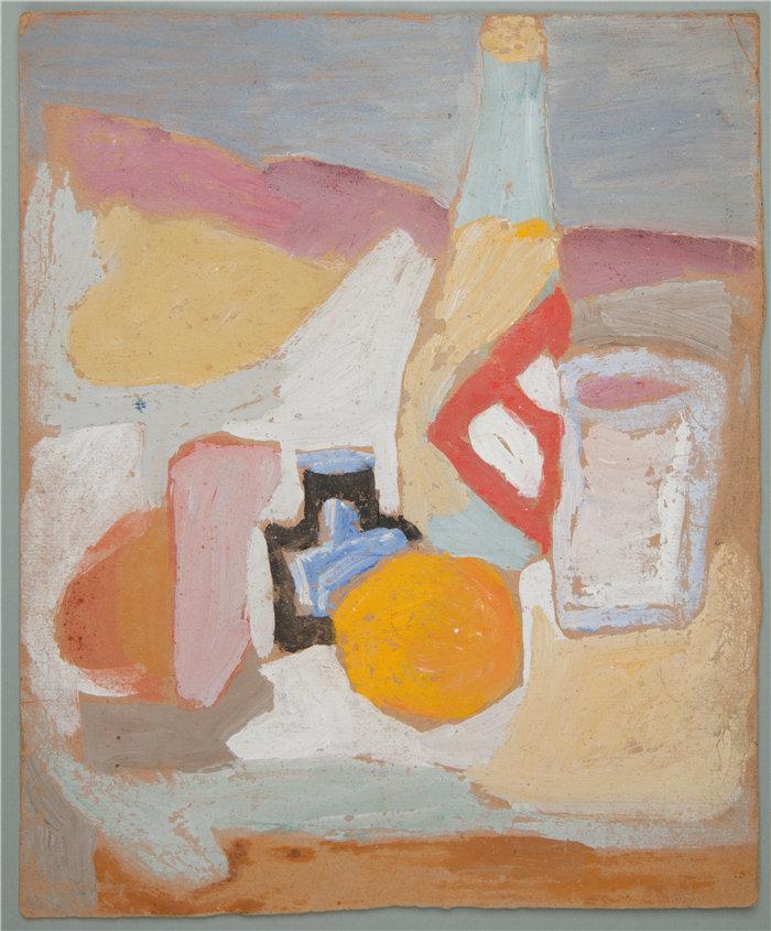 亚历山大·萨萨·布朗德 (Aleksander Sasza Blonder,波兰画家)作品-死亡的自然与橙色,瓶子和鱿鱼(1934年)