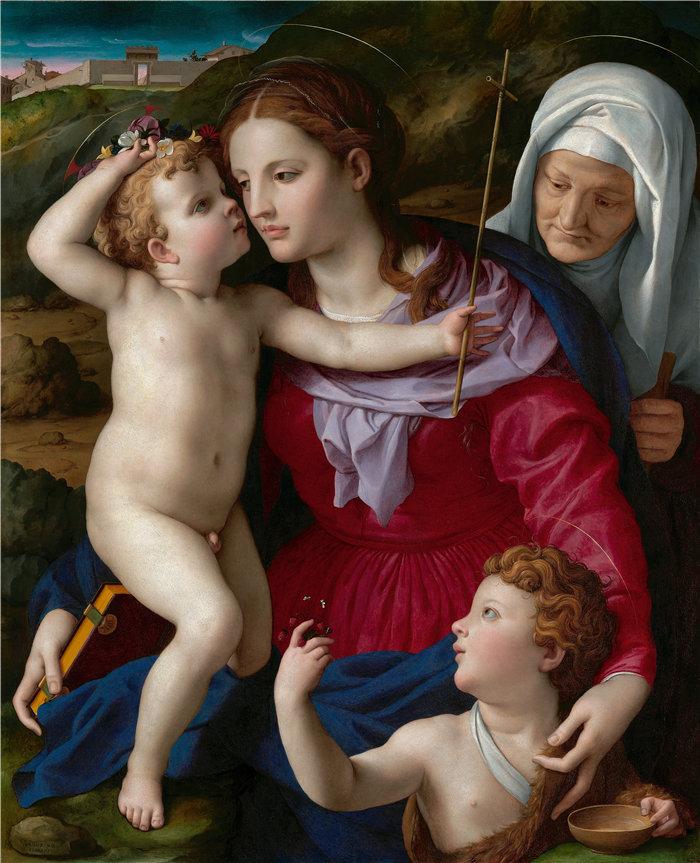 阿格诺洛·布龙齐诺(Agnolo Bronzino,意大利画家)作品-圣母子与圣伊丽莎白和施洗者圣约翰 (1540–1545)