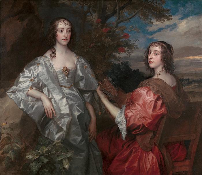 安东尼·范·戴克(Anthony van Dyck,比利时画家)作品-切斯特菲尔德伯爵夫人凯瑟琳和亨廷顿伯爵夫人露西(1636 年至 1640 年)