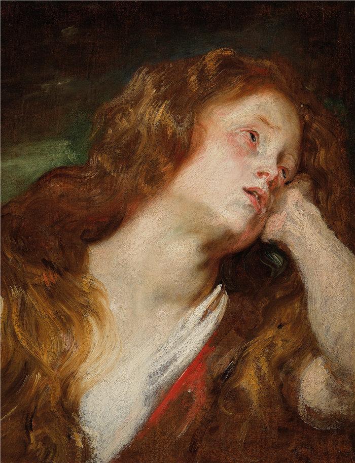 安东尼·范·戴克(Anthony van Dyck,比利时画家)作品-一个年轻的女人在休息她的头,可能是忏悔者抹大拉