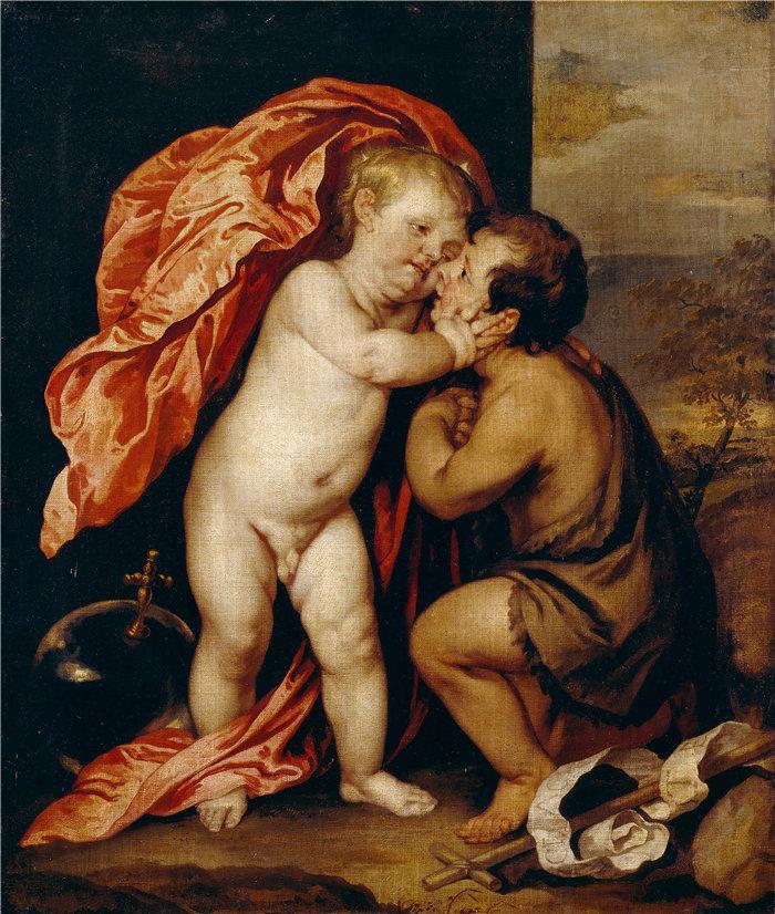 安东尼·范·戴克(Anthony van Dyck,比利时画家)作品-婴儿基督和施洗者圣约翰