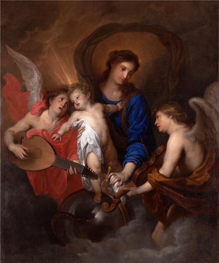 安东尼·范·戴克(Anthony van Dyck,比利时画家)作品-圣母子与音乐制作天使(约 1630 年)