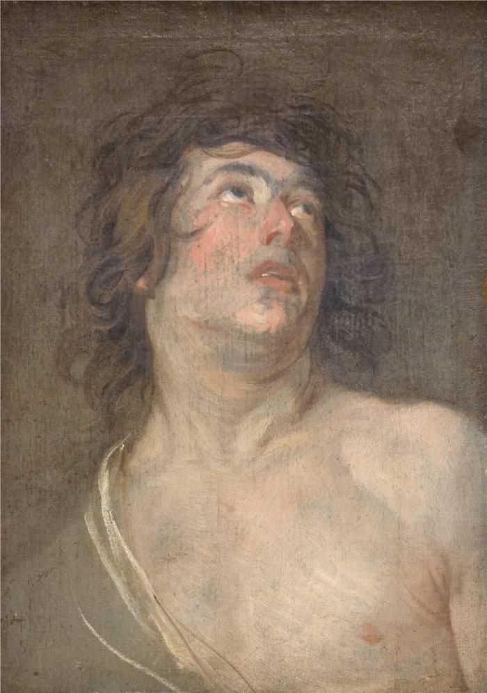 安东尼·范·戴克(Anthony van Dyck,比利时画家)作品-一个向上看的年轻人