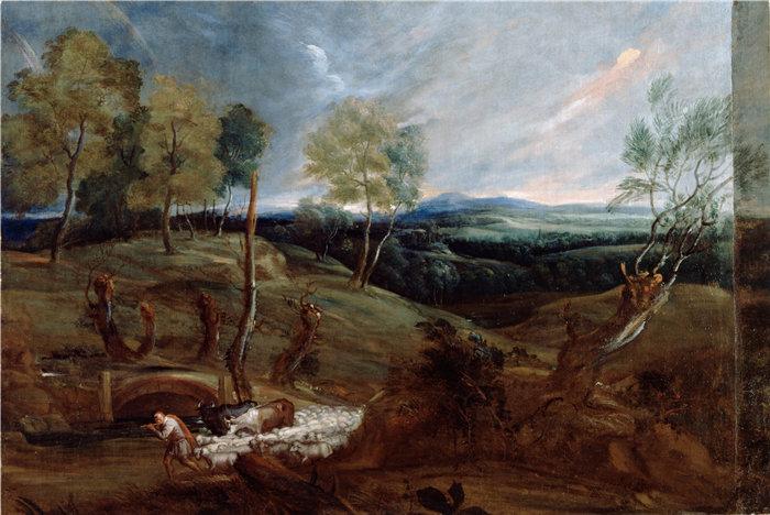 安东尼·范·戴克(Anthony van Dyck,比利时画家)作品-与牧羊人和他的羊群的日落景观