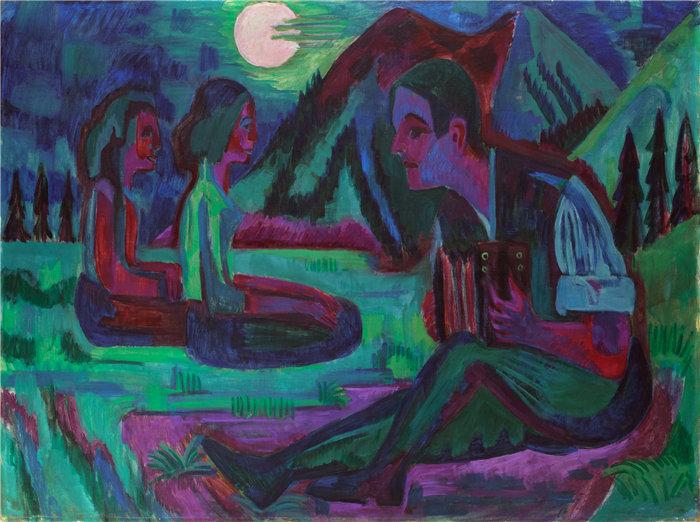 恩斯特·路德维希·基希纳(Ernst Ludwig Kirchner,德国画家)作品-手风琴演奏家 (1924)