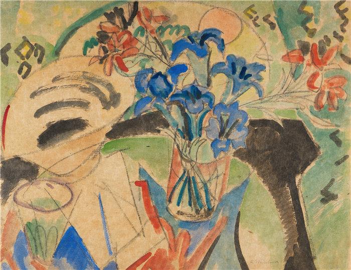 恩斯特·路德维希·基希纳(Ernst Ludwig Kirchner,德国画家)作品-土耳其联邦静物画(1920年)