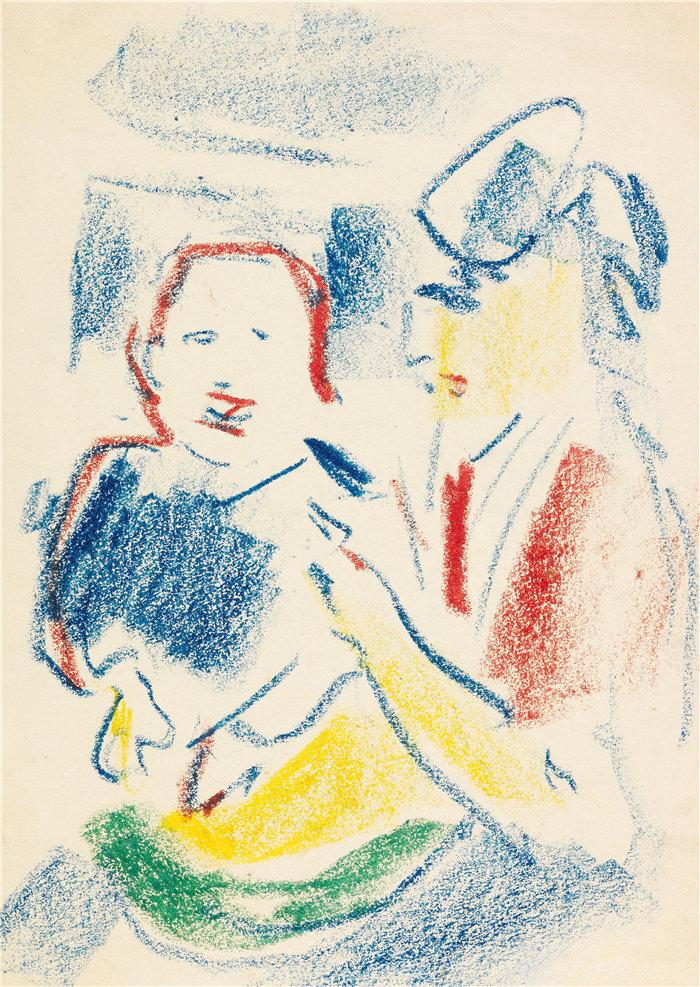恩斯特·路德维希·基希纳(Ernst Ludwig Kirchner,德国画家)作品-有孩子的妇女(1908年)