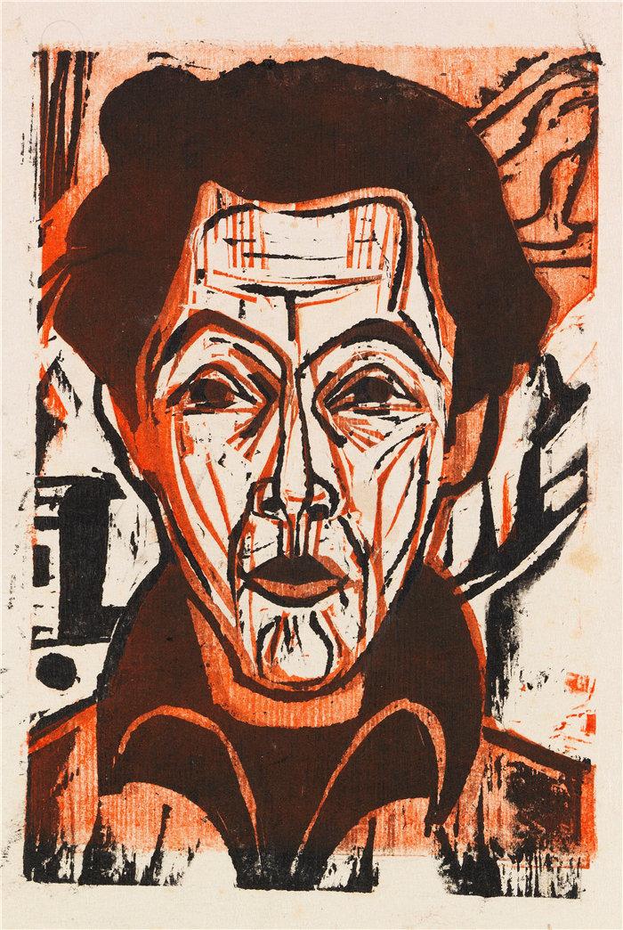 恩斯特·路德维希·基希纳(Ernst Ludwig Kirchner,德国画家)作品-自画像 (1926)