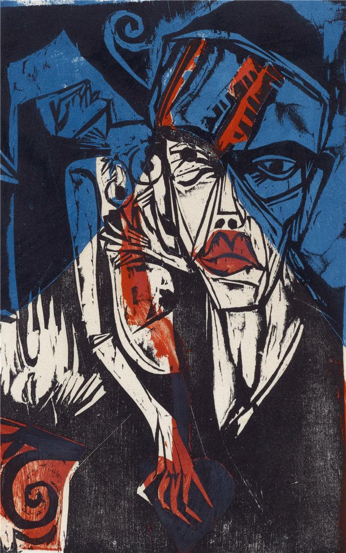恩斯特·路德维希·基希纳(Ernst Ludwig Kirchner,德国画家)作品-与爱的痛苦作斗争(1915)