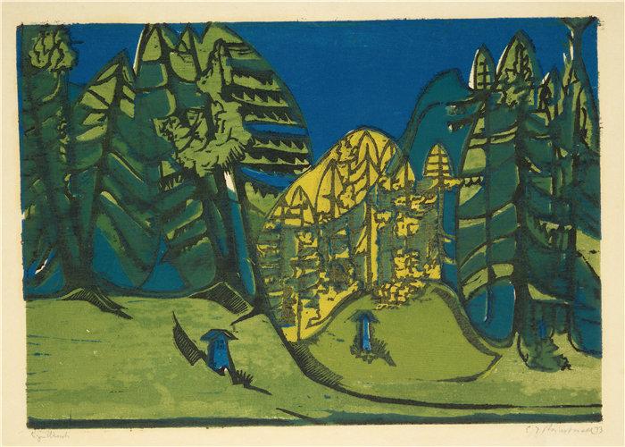 恩斯特·路德维希·基希纳(Ernst Ludwig Kirchner,德国画家)作品-沃尔弗里德霍夫 (1933)