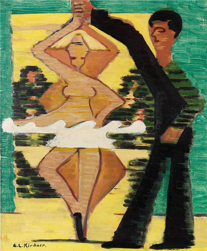 恩斯特·路德维希·基希纳(Ernst Ludwig Kirchner,德国画家)作品-旋转舞者(1931)