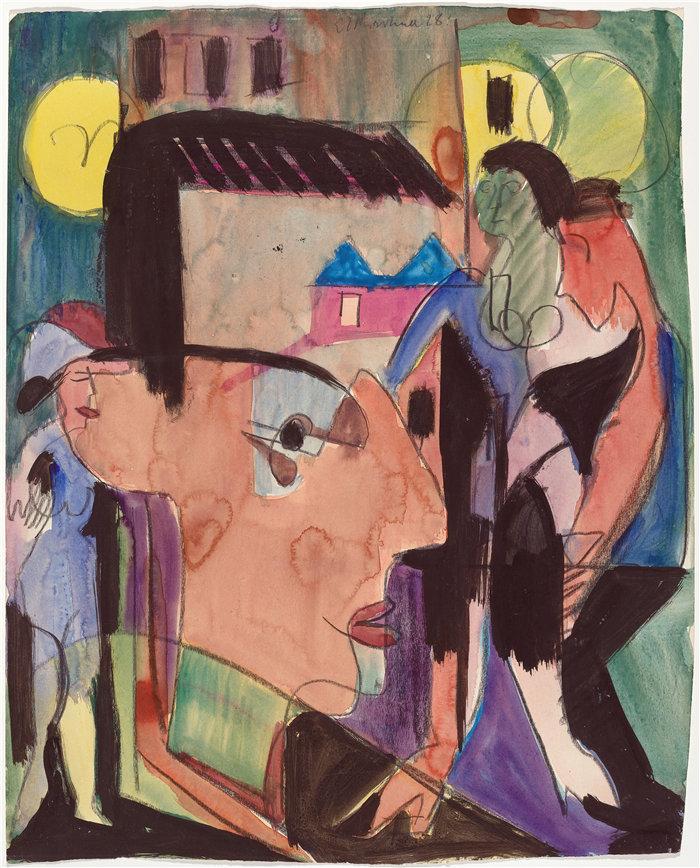 恩斯特·路德维希·基希纳(Ernst Ludwig Kirchner,德国画家)作品-自画像 (1928)