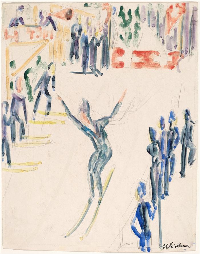 恩斯特·路德维希·基希纳(Ernst Ludwig Kirchner,德国画家)作品-跳台滑雪(约 1936 年)