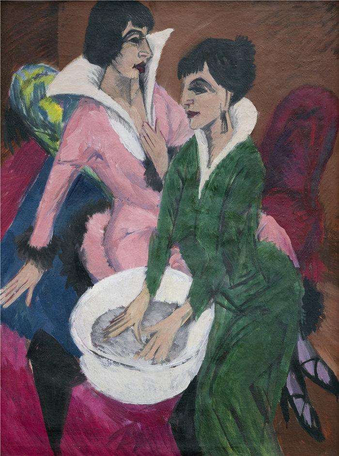 恩斯特·路德维希·基希纳(Ernst Ludwig Kirchner,德国画家)作品-水槽旁的两个女人;姐妹们 (1913)