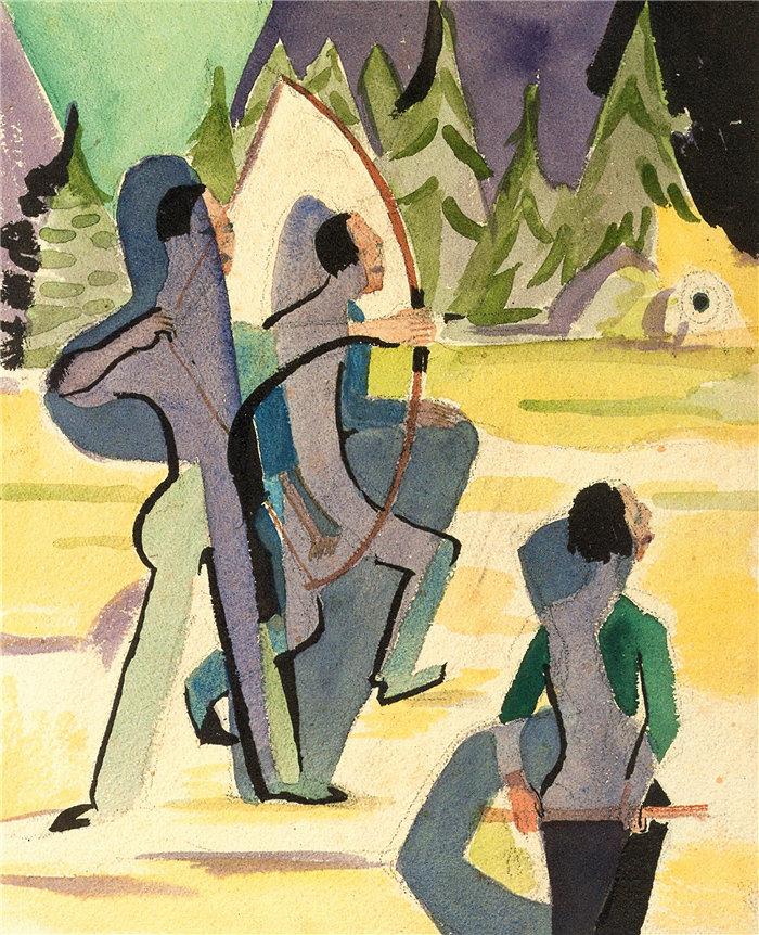 恩斯特·路德维希·基希纳(Ernst Ludwig Kirchner,德国画家)作品-弓箭手 (1935)