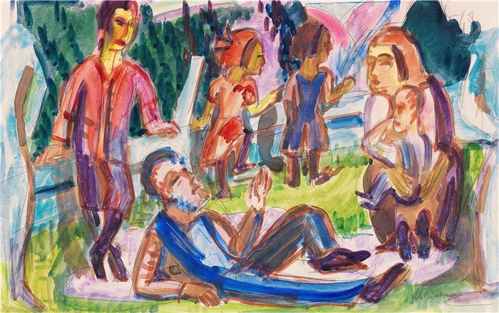 恩斯特·路德维希·基希纳(Ernst Ludwig Kirchner,德国画家)作品-牧场上的家庭(1922)