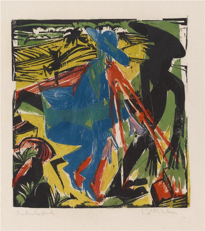 恩斯特·路德维希·基希纳(Ernst Ludwig Kirchner,德国画家)作品-施莱米尔与阴影的遭遇(1915)