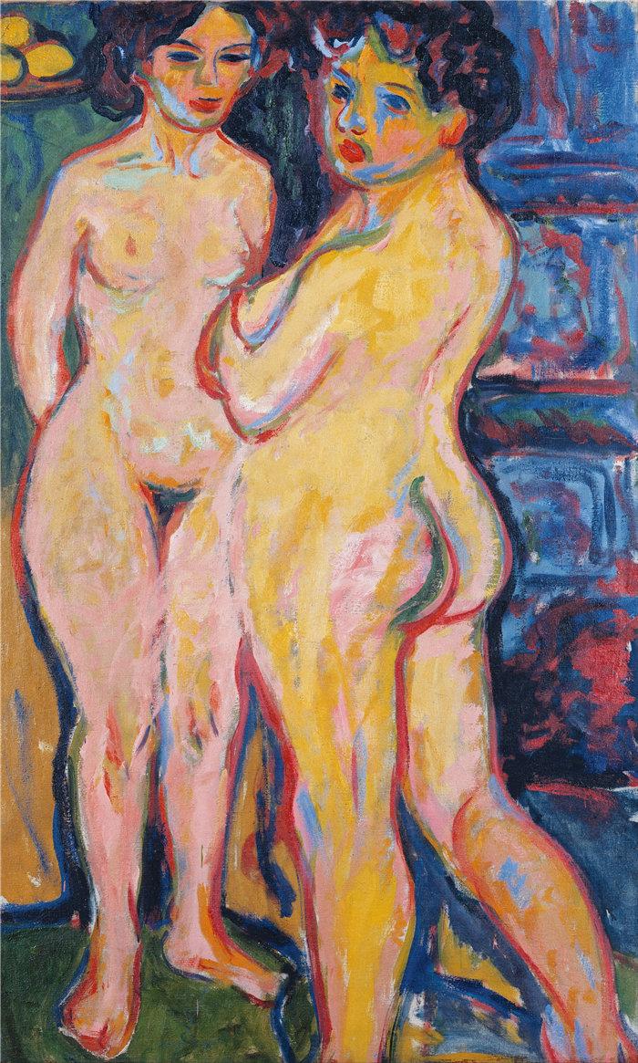 恩斯特·路德维希·基希纳(Ernst Ludwig Kirchner,德国画家)作品-站在炉子旁的裸 体