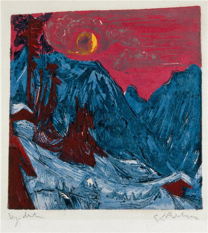 恩斯特·路德维希·基希纳(Ernst Ludwig Kirchner,德国画家)作品-月光下的冬景(1919)