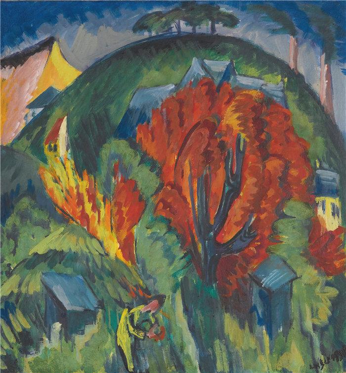恩斯特·路德维希·基希纳(Ernst Ludwig Kirchner,德国画家)作品-耶拿的加尔根贝格(1915-1916)