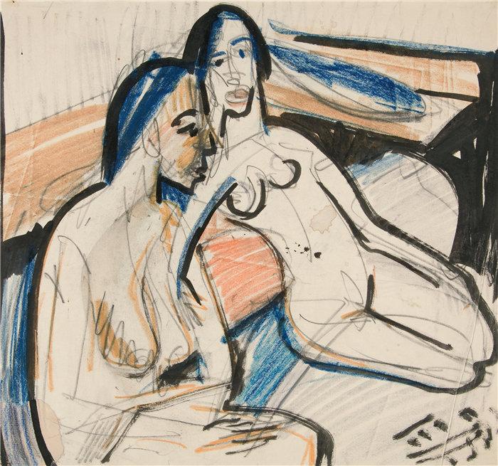 恩斯特·路德维希·基希纳(Ernst Ludwig Kirchner,德国画家)作品-工作室里的两个坐着的女人(1912)