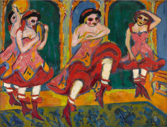 恩斯特·路德维希·基希纳(Ernst Ludwig Kirchner,德国画家)作品-沙达舞者