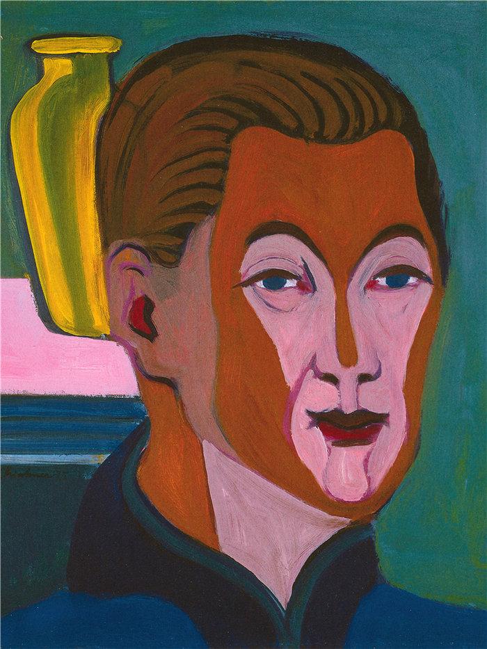 恩斯特·路德维希·基希纳(Ernst Ludwig Kirchner,德国画家)作品-自画像(1925)